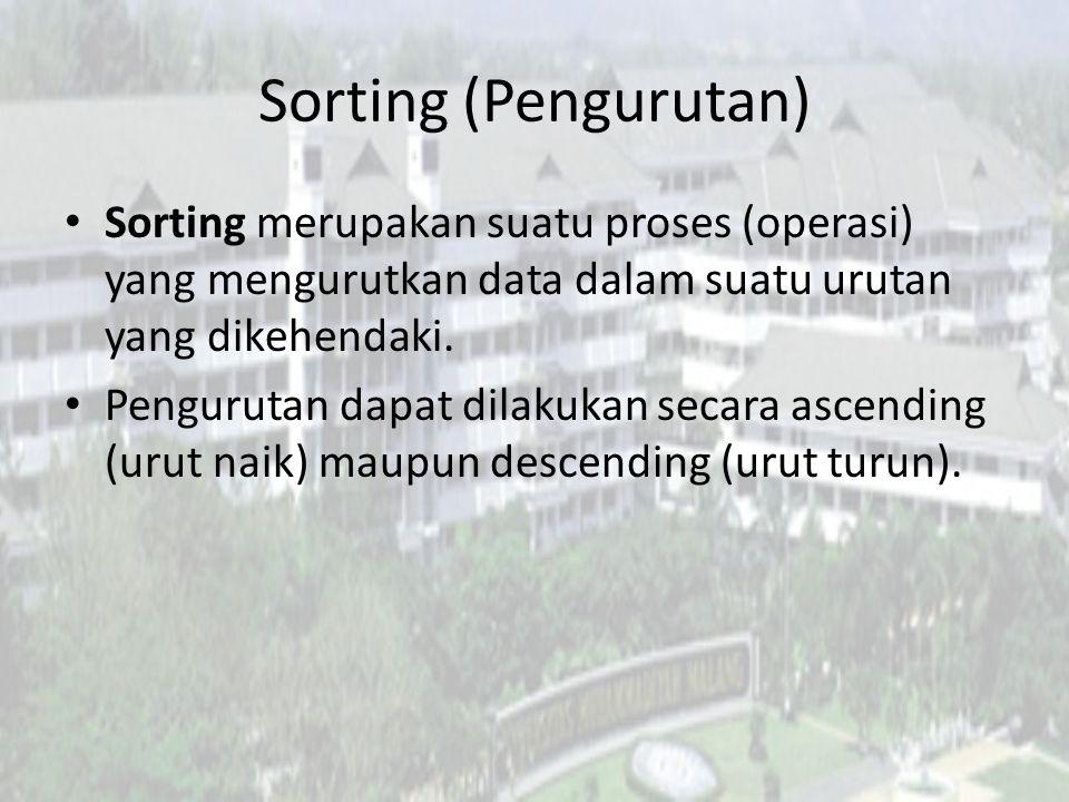 Sorting (Pengurutan) Sorting merupakan suatu proses (operasi) yang mengurutkan data dalam suatu urutan yang dikehendaki. Pengurutan dapat dilakukan se