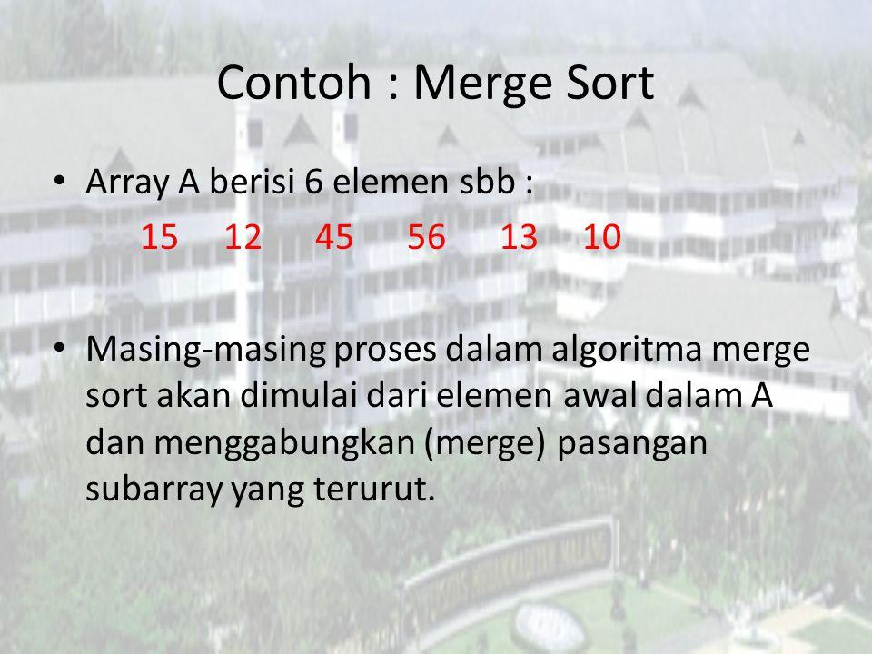 Contoh : Merge Sort Array A berisi 6 elemen sbb : 15 12 45 56 13 10 Masing-masing proses dalam algoritma merge sort akan dimulai dari elemen awal dala