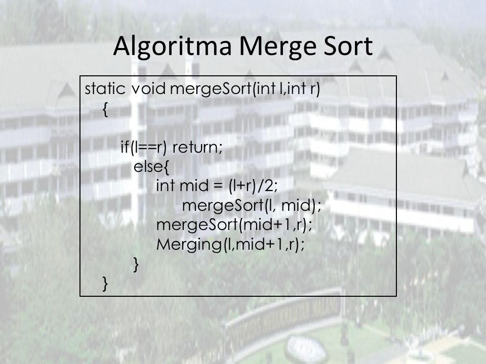 Algoritma Merge Sort static void mergeSort(int l,int r) { if(l==r) return; else{ int mid = (l+r)/2; mergeSort(l, mid); mergeSort(mid+1,r); Merging(l,m