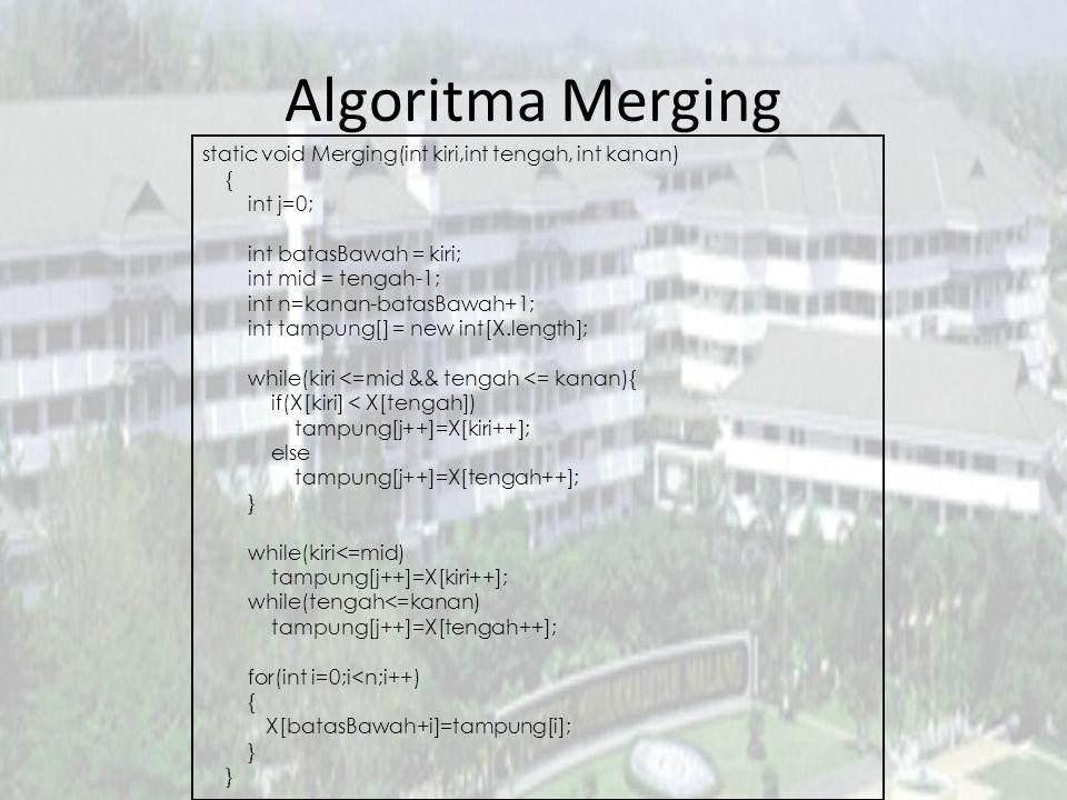 Algoritma Merging static void Merging(int kiri,int tengah, int kanan) { int j=0; int batasBawah = kiri; int mid = tengah-1; int n=kanan-batasBawah+1;