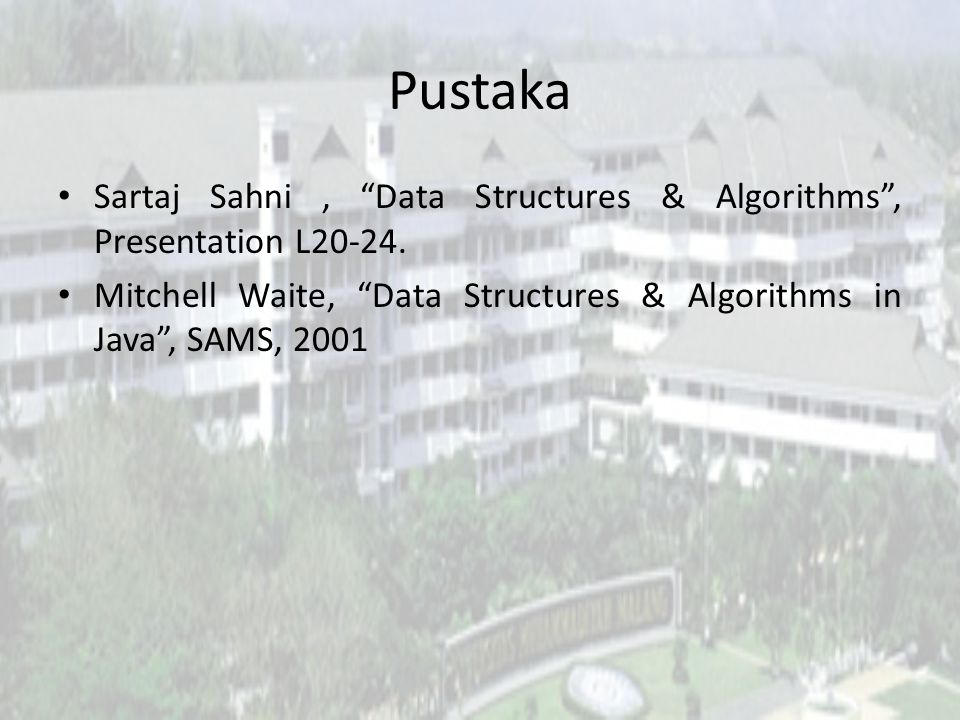 "Pustaka Sartaj Sahni, ""Data Structures & Algorithms"", Presentation L20-24. Mitchell Waite, ""Data Structures & Algorithms in Java"", SAMS, 2001"