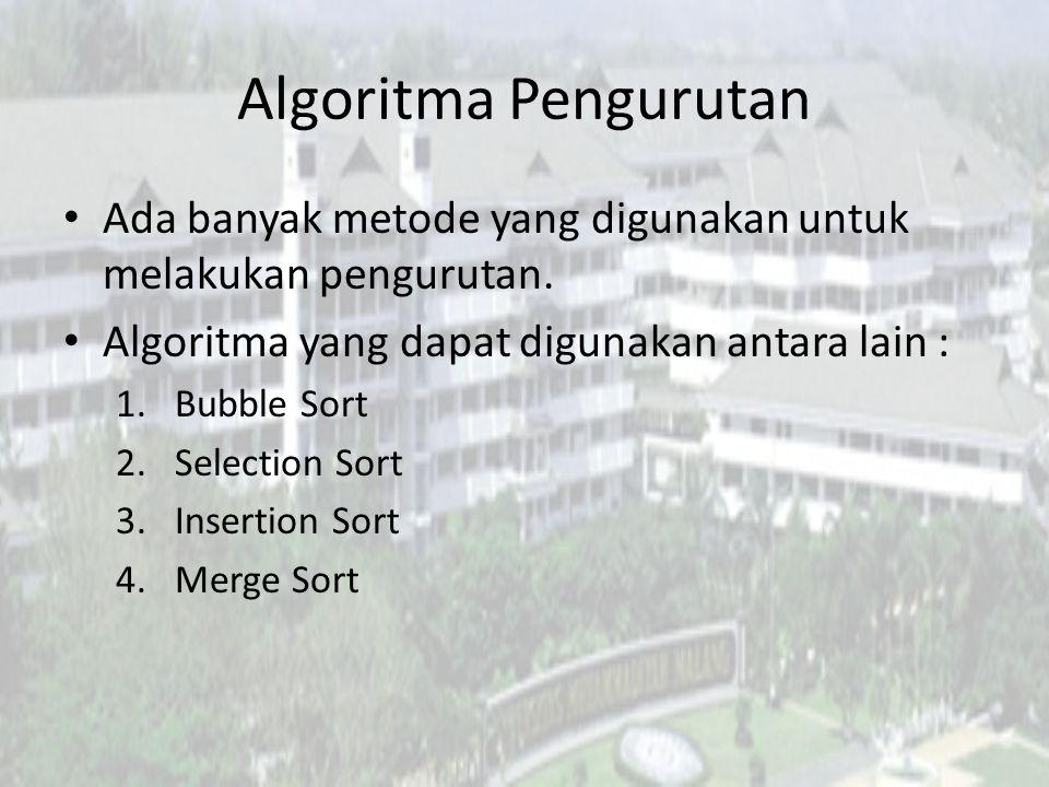 Algoritma Pengurutan Ada banyak metode yang digunakan untuk melakukan pengurutan. Algoritma yang dapat digunakan antara lain : 1.Bubble Sort 2.Selecti