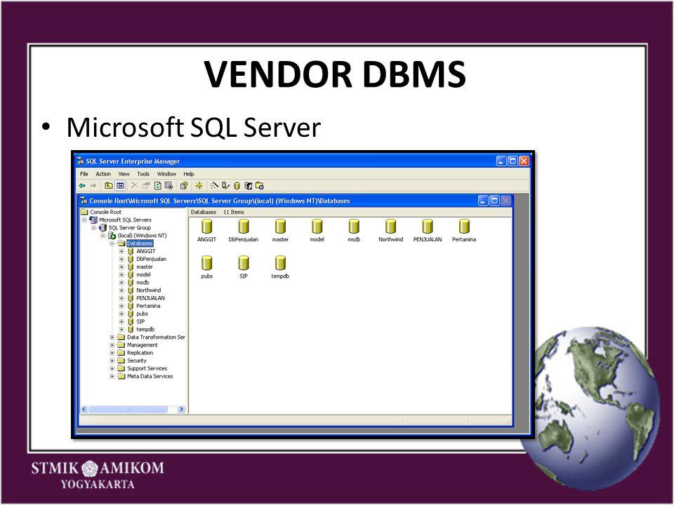 VENDOR DBMS Microsoft SQL Server