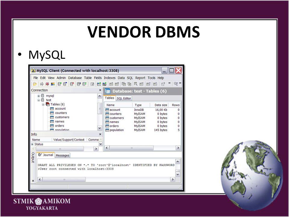 VENDOR DBMS MySQL