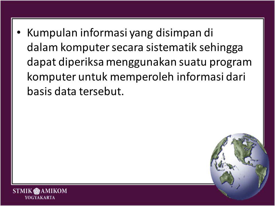 Kumpulan informasi yang disimpan di dalam komputer secara sistematik sehingga dapat diperiksa menggunakan suatu program komputer untuk memperoleh info