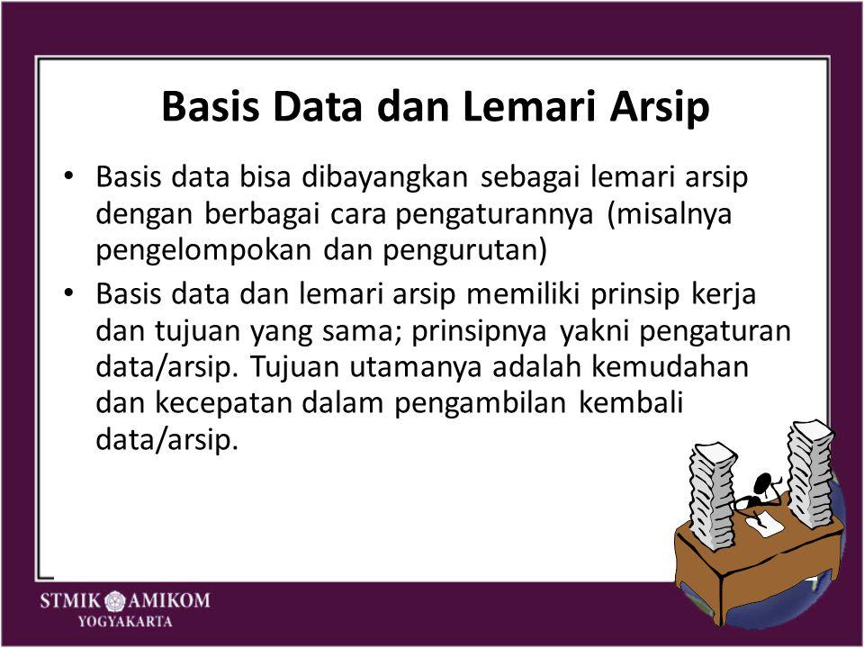 Basis Data dan Lemari Arsip Basis data bisa dibayangkan sebagai lemari arsip dengan berbagai cara pengaturannya (misalnya pengelompokan dan pengurutan