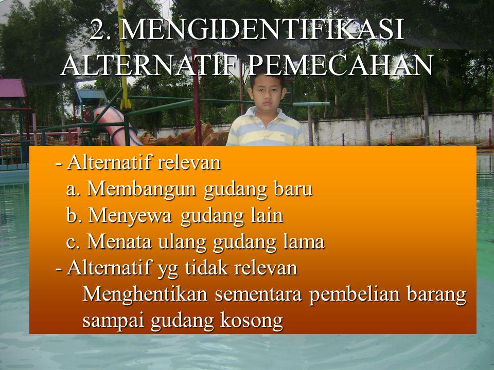 2.MENGIDENTIFIKASI ALTERNATIF PEMECAHAN - Alternatif relevan - Alternatif relevan a.