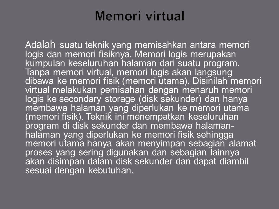 Ad alah suatu teknik yang memisahkan antara memori logis dan memori fisiknya. Memori logis merupakan kumpulan keseluruhan halaman dari suatu program.