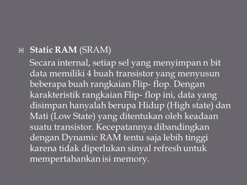  Static RAM (SRAM) Secara internal, setiap sel yang menyimpan n bit data memiliki 4 buah transistor yang menyusun beberapa buah rangkaian Flip- flop.