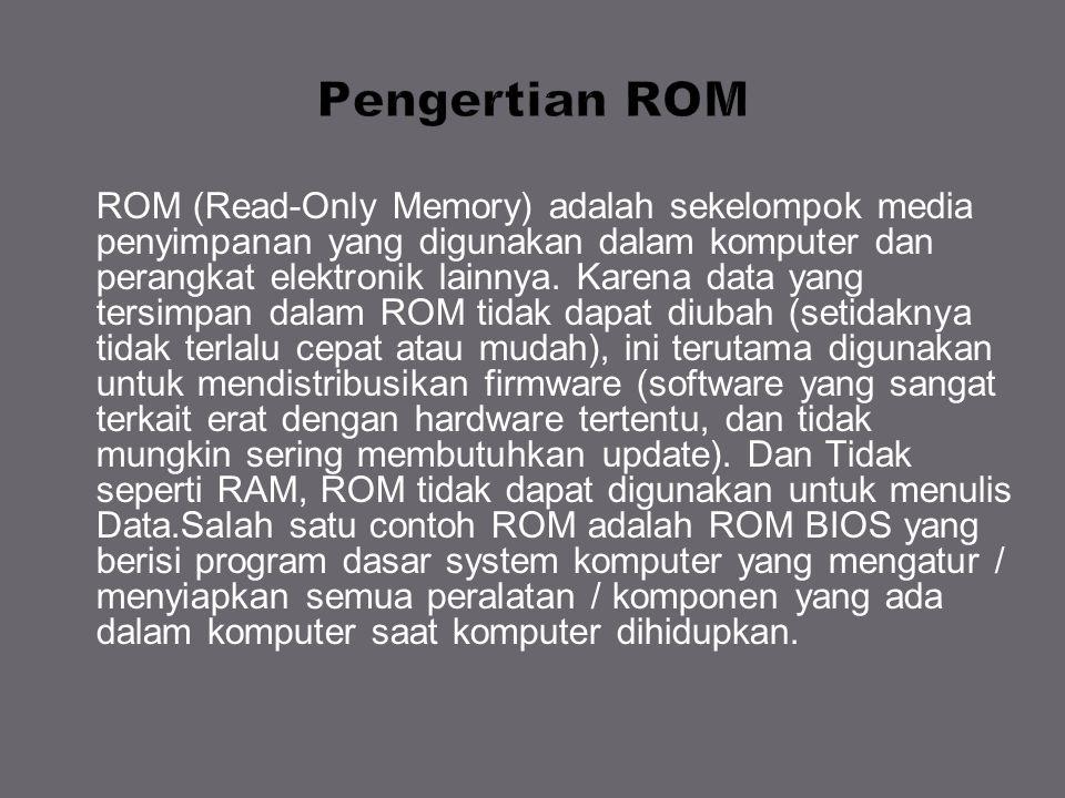 ROM (Read-Only Memory) adalah sekelompok media penyimpanan yang digunakan dalam komputer dan perangkat elektronik lainnya. Karena data yang tersimpan