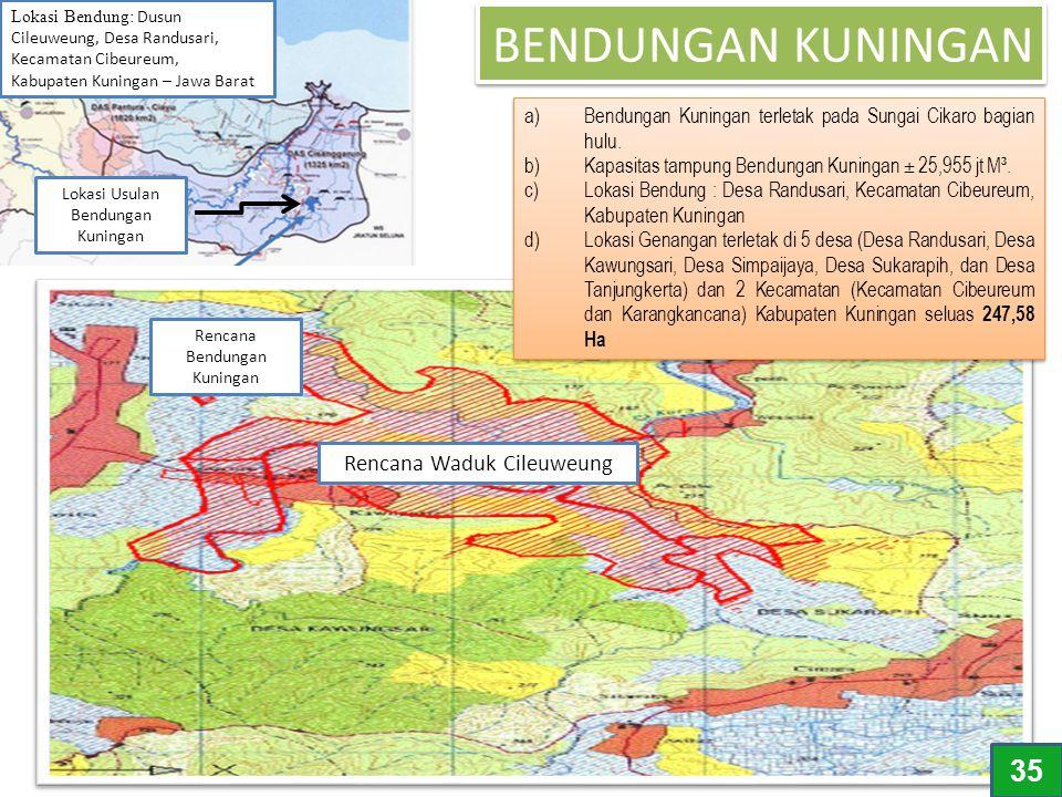 BENDUNGAN KUNINGAN a)Bendungan Kuningan terletak pada Sungai Cikaro bagian hulu. b)Kapasitas tampung Bendungan Kuningan ± 25,955 jt M³. c)Lokasi Bendu