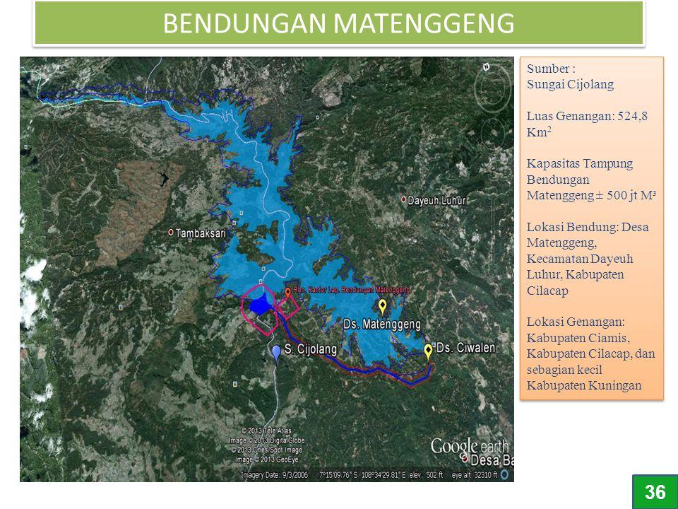 BENDUNGAN MATENGGENG Sumber : Sungai Cijolang Luas Genangan: 524,8 Km 2 Kapasitas Tampung Bendungan Matenggeng ± 500 jt M³ Lokasi Bendung: Desa Mateng
