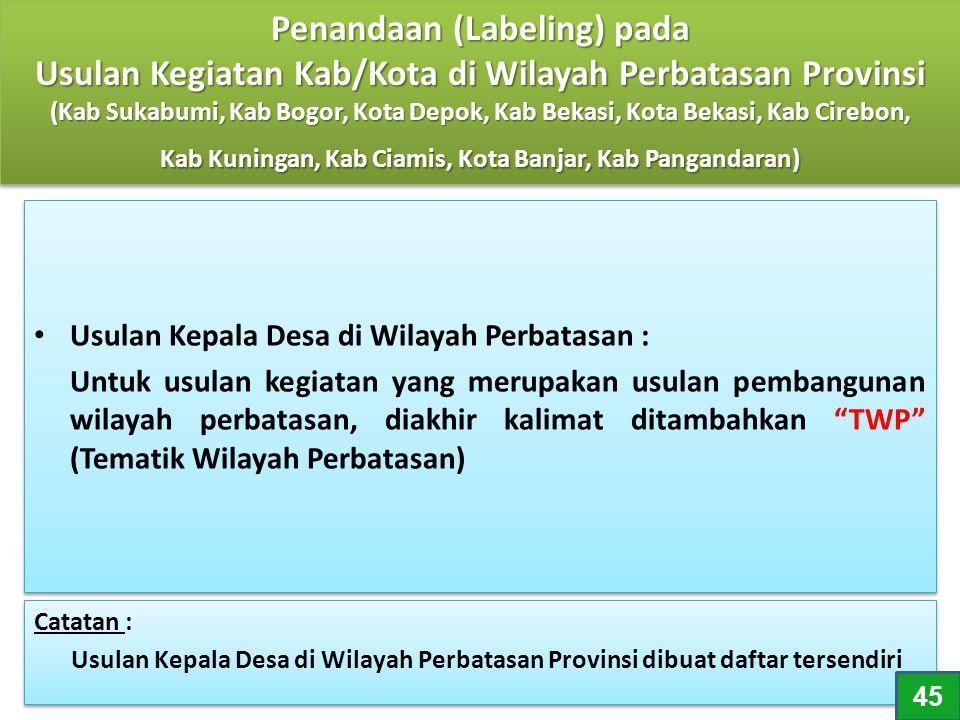 """Usulan Kepala Desa di Wilayah Perbatasan : Untuk usulan kegiatan yang merupakan usulan pembangunan wilayah perbatasan, diakhir kalimat ditambahkan """"TW"""