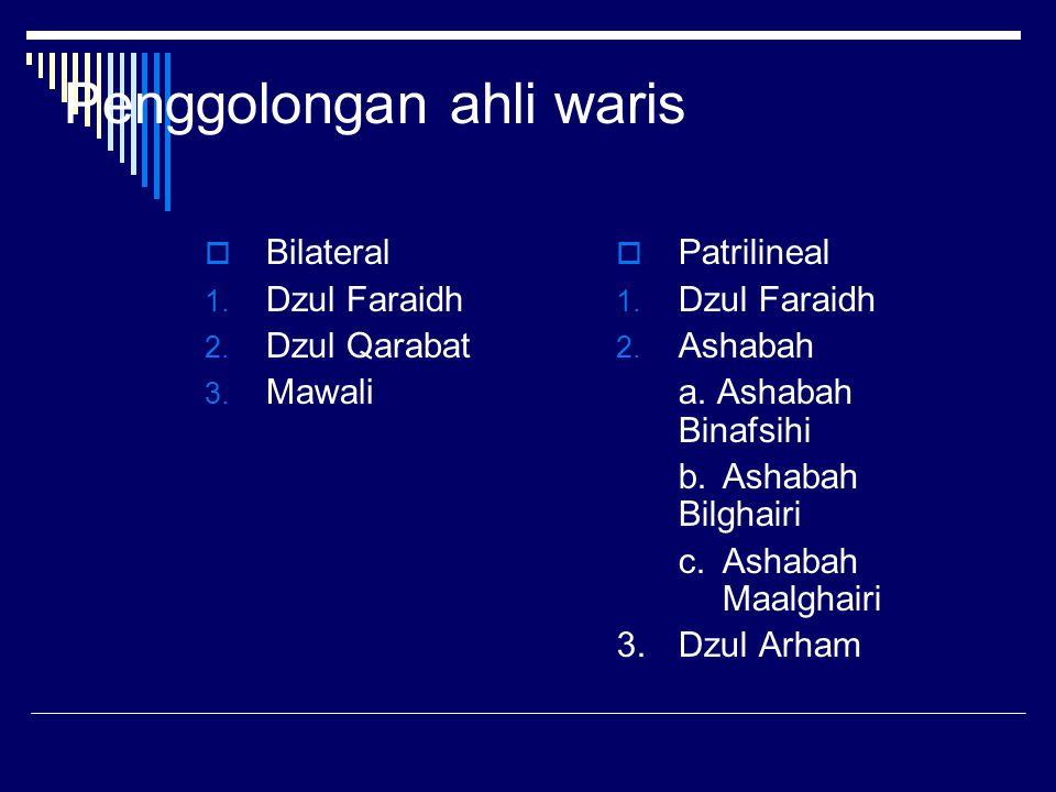 Penggolongan ahli waris  Bilateral 1. Dzul Faraidh 2. Dzul Qarabat 3. Mawali  Patrilineal 1. Dzul Faraidh 2. Ashabah a. Ashabah Binafsihi b.Ashabah