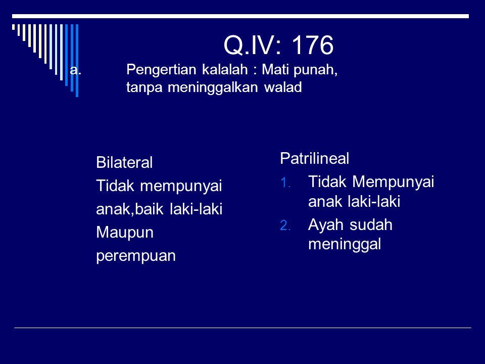Q.IV: 176 a.Pengertian kalalah : Mati punah, tanpa meninggalkan walad Bilateral Tidak mempunyai anak,baik laki-laki Maupun perempuan Patrilineal 1. Ti