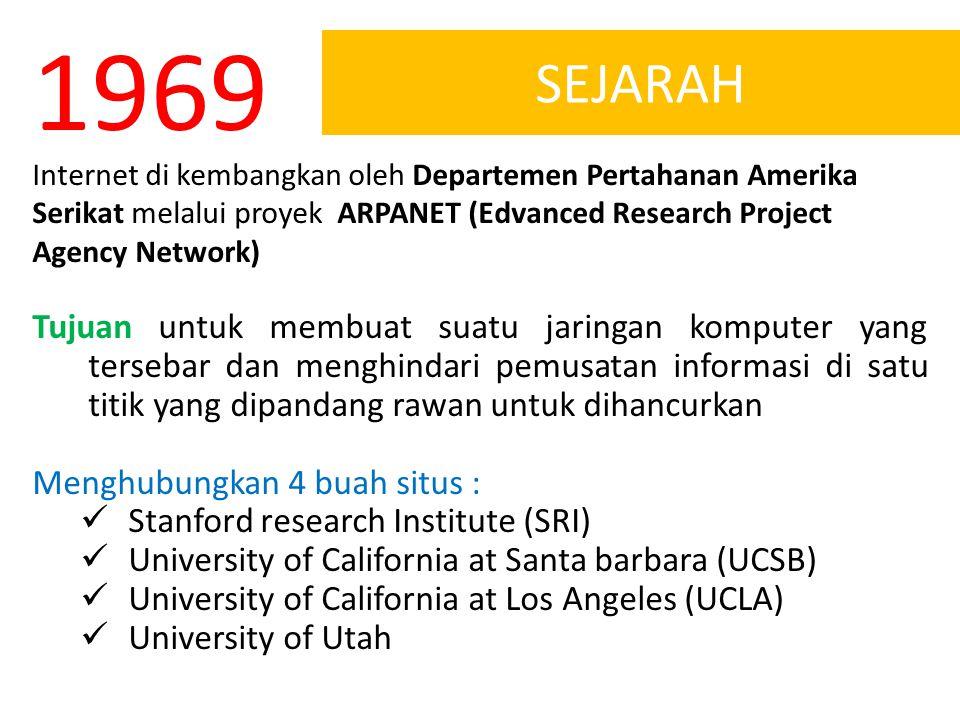 SEJARAH 1969 Internet di kembangkan oleh Departemen Pertahanan Amerika Serikat melalui proyek ARPANET (Edvanced Research Project Agency Network) Tujua