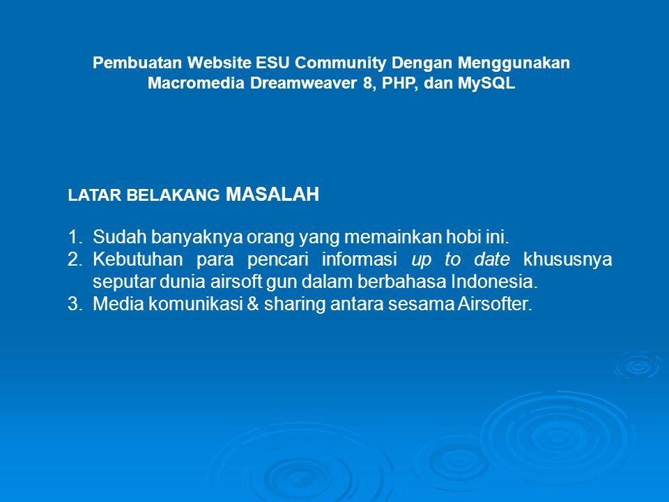 Pembuatan Website ESU Community Dengan Menggunakan Macromedia Dreamweaver 8, PHP, dan MySQL LATAR BELAKANG MASALAH 1.Sudah banyaknya orang yang memainkan hobi ini.