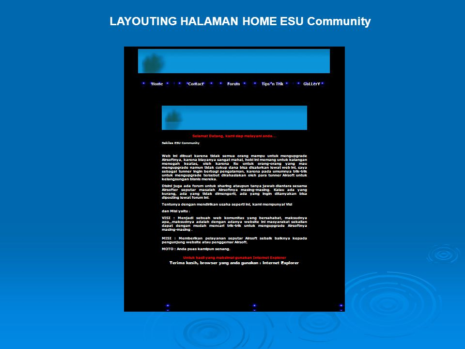 LAYOUTING HALAMAN HOME ESU Community