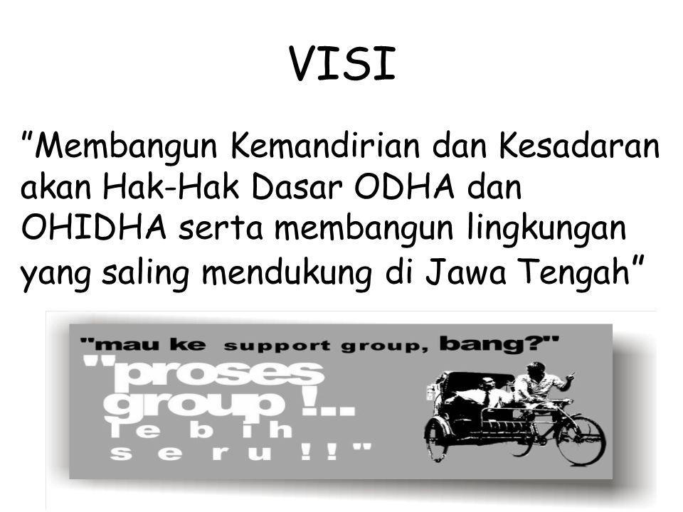 VISI Membangun Kemandirian dan Kesadaran akan Hak-Hak Dasar ODHA dan OHIDHA serta membangun lingkungan yang saling mendukung di Jawa Tengah