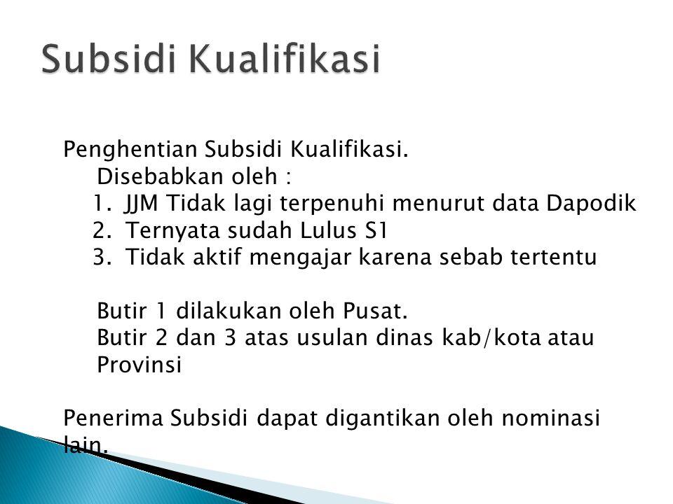 Penghentian Subsidi Kualifikasi.