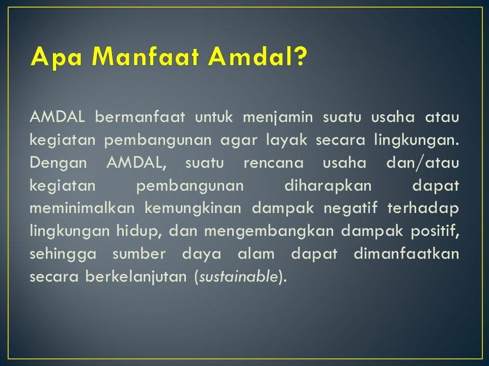 AMDAL bermanfaat untuk menjamin suatu usaha atau kegiatan pembangunan agar layak secara lingkungan. Dengan AMDAL, suatu rencana usaha dan/atau kegiata