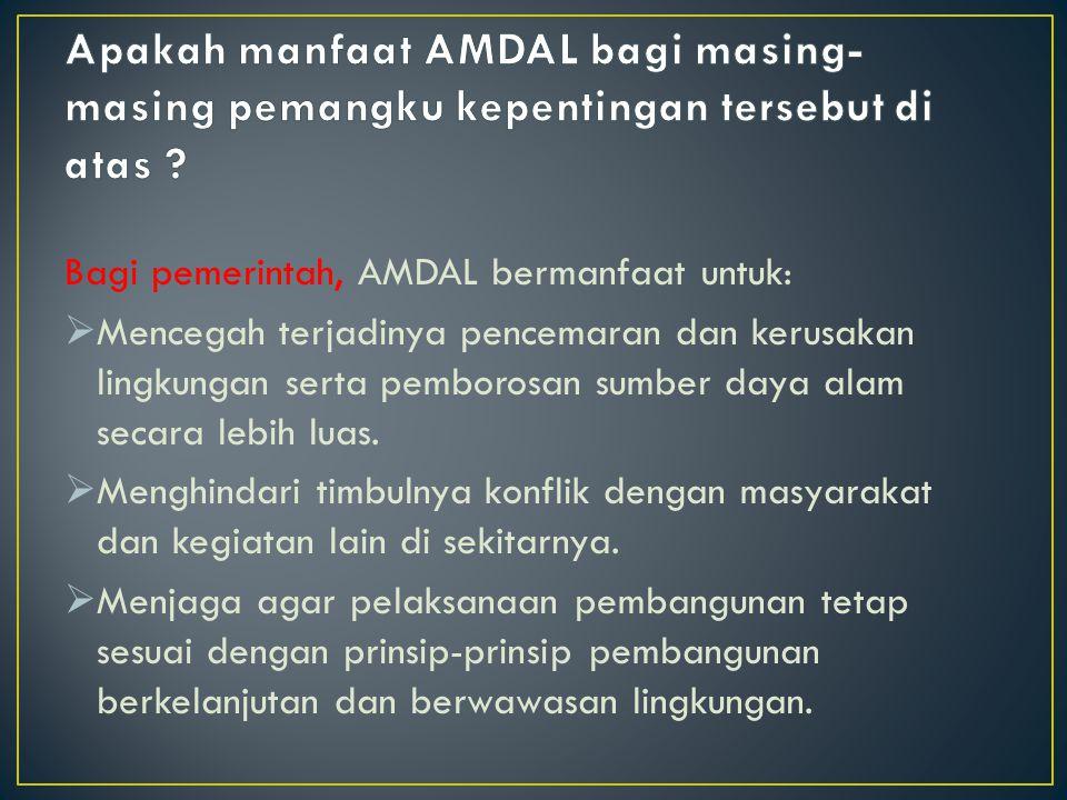 Bagi pemerintah, AMDAL bermanfaat untuk:  Mencegah terjadinya pencemaran dan kerusakan lingkungan serta pemborosan sumber daya alam secara lebih luas