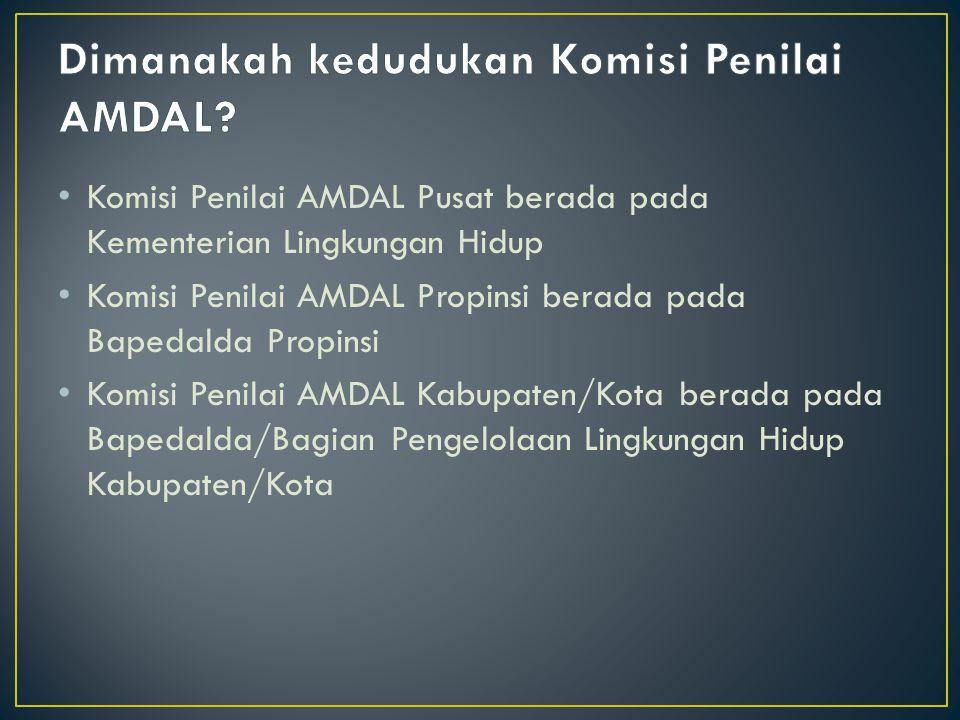 Komisi Penilai AMDAL Pusat berada pada Kementerian Lingkungan Hidup Komisi Penilai AMDAL Propinsi berada pada Bapedalda Propinsi Komisi Penilai AMDAL Kabupaten/Kota berada pada Bapedalda/Bagian Pengelolaan Lingkungan Hidup Kabupaten/Kota