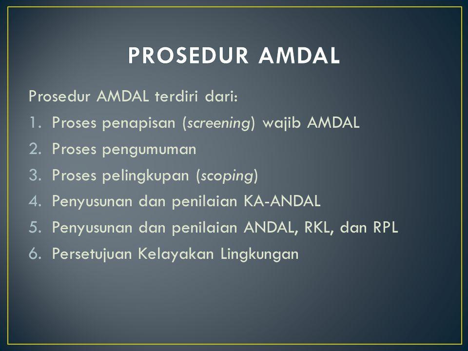 Prosedur AMDAL terdiri dari: 1.Proses penapisan (screening) wajib AMDAL 2.Proses pengumuman 3.Proses pelingkupan (scoping) 4.Penyusunan dan penilaian KA-ANDAL 5.Penyusunan dan penilaian ANDAL, RKL, dan RPL 6.Persetujuan Kelayakan Lingkungan