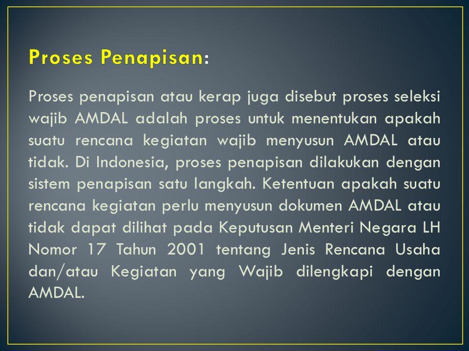 Proses penapisan atau kerap juga disebut proses seleksi wajib AMDAL adalah proses untuk menentukan apakah suatu rencana kegiatan wajib menyusun AMDAL