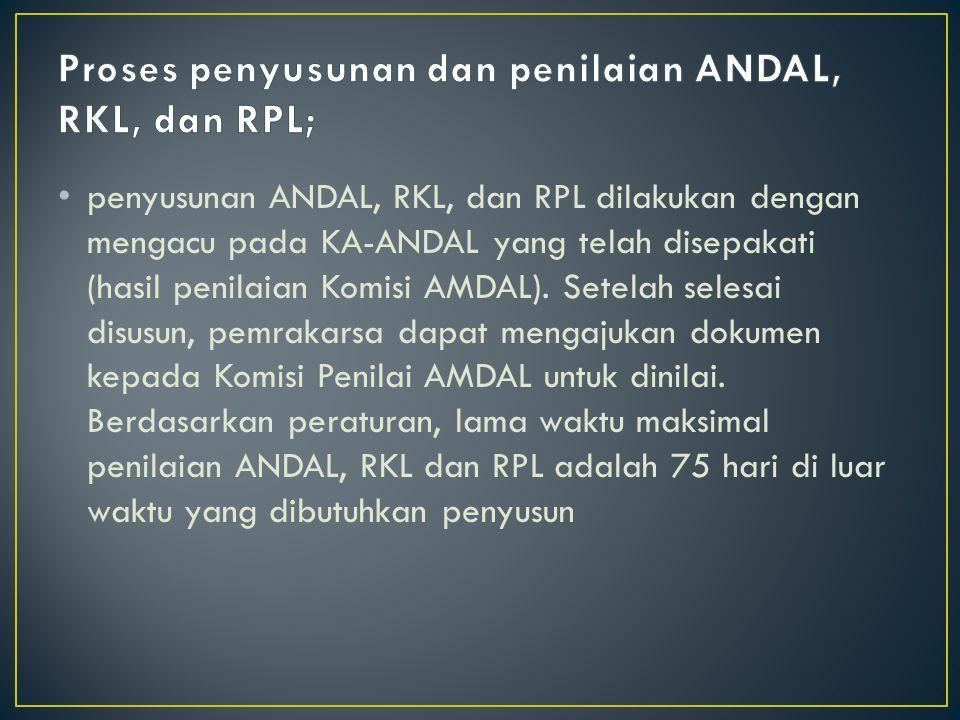 penyusunan ANDAL, RKL, dan RPL dilakukan dengan mengacu pada KA-ANDAL yang telah disepakati (hasil penilaian Komisi AMDAL). Setelah selesai disusun, p