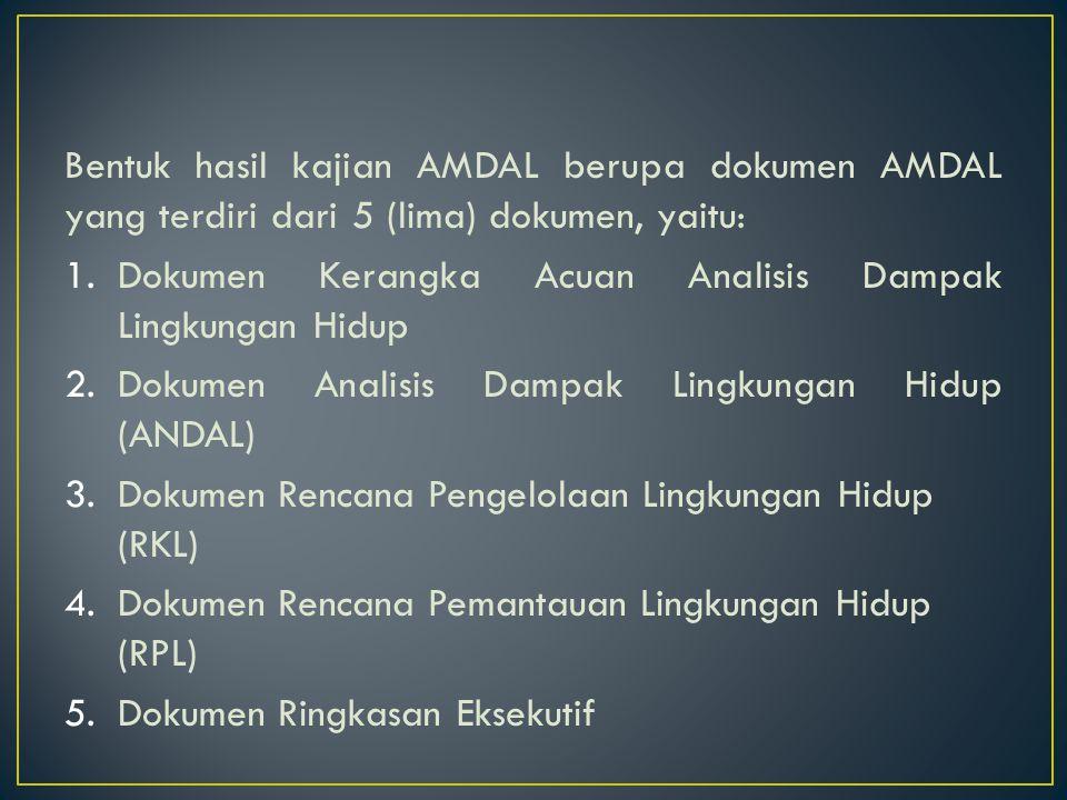 Bentuk hasil kajian AMDAL berupa dokumen AMDAL yang terdiri dari 5 (lima) dokumen, yaitu: 1.Dokumen Kerangka Acuan Analisis Dampak Lingkungan Hidup 2.Dokumen Analisis Dampak Lingkungan Hidup (ANDAL) 3.Dokumen Rencana Pengelolaan Lingkungan Hidup (RKL) 4.Dokumen Rencana Pemantauan Lingkungan Hidup (RPL) 5.Dokumen Ringkasan Eksekutif