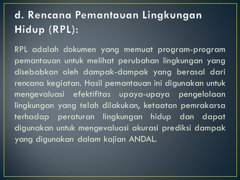 RPL adalah dokumen yang memuat program-program pemantauan untuk melihat perubahan lingkungan yang disebabkan oleh dampak-dampak yang berasal dari renc