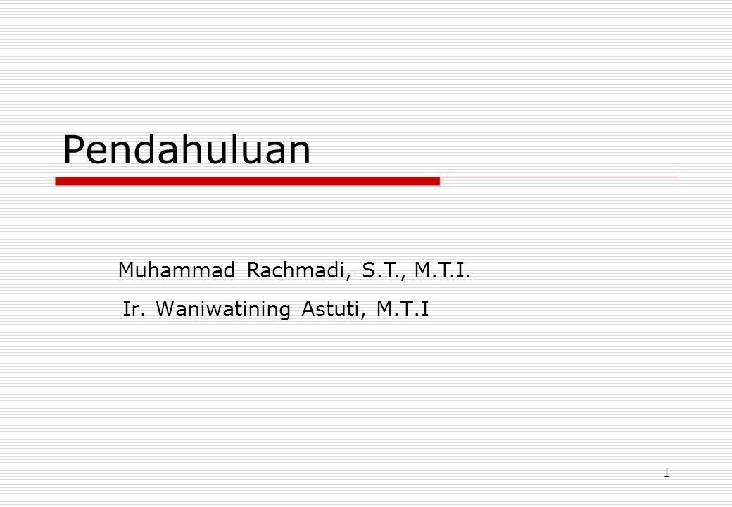 1 Pendahuluan Ir. Waniwatining Astuti, M.T.I Muhammad Rachmadi, S.T., M.T.I.