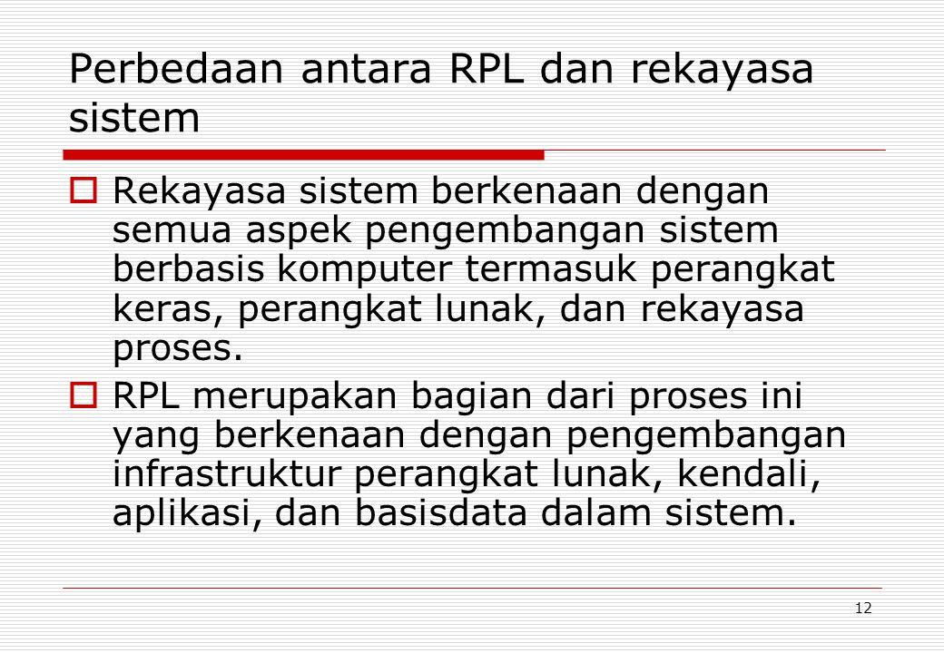 12 Perbedaan antara RPL dan rekayasa sistem  Rekayasa sistem berkenaan dengan semua aspek pengembangan sistem berbasis komputer termasuk perangkat keras, perangkat lunak, dan rekayasa proses.