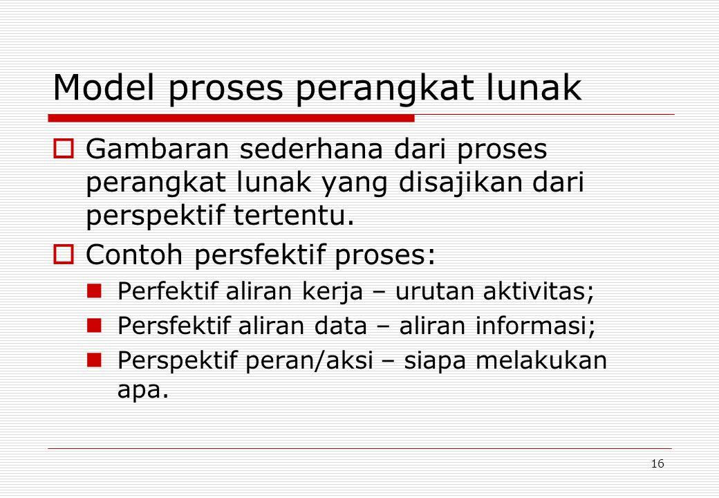 16 Model proses perangkat lunak  Gambaran sederhana dari proses perangkat lunak yang disajikan dari perspektif tertentu.
