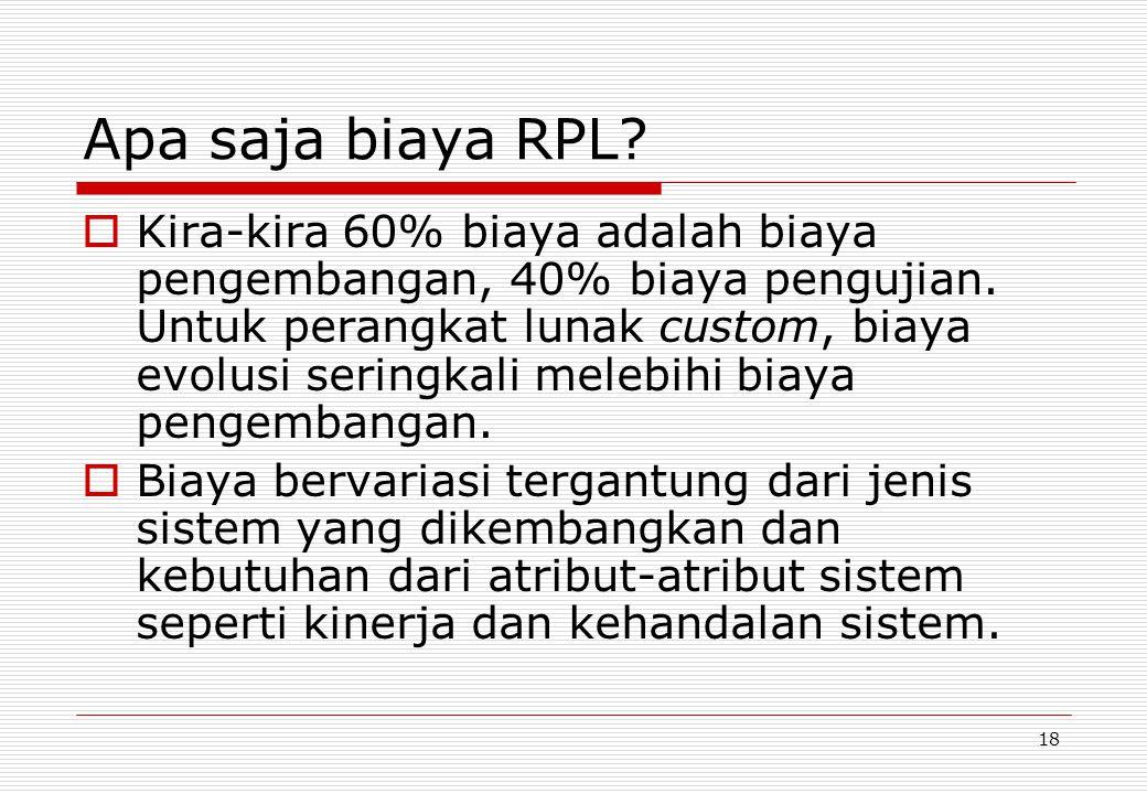 18 Apa saja biaya RPL. Kira-kira 60% biaya adalah biaya pengembangan, 40% biaya pengujian.