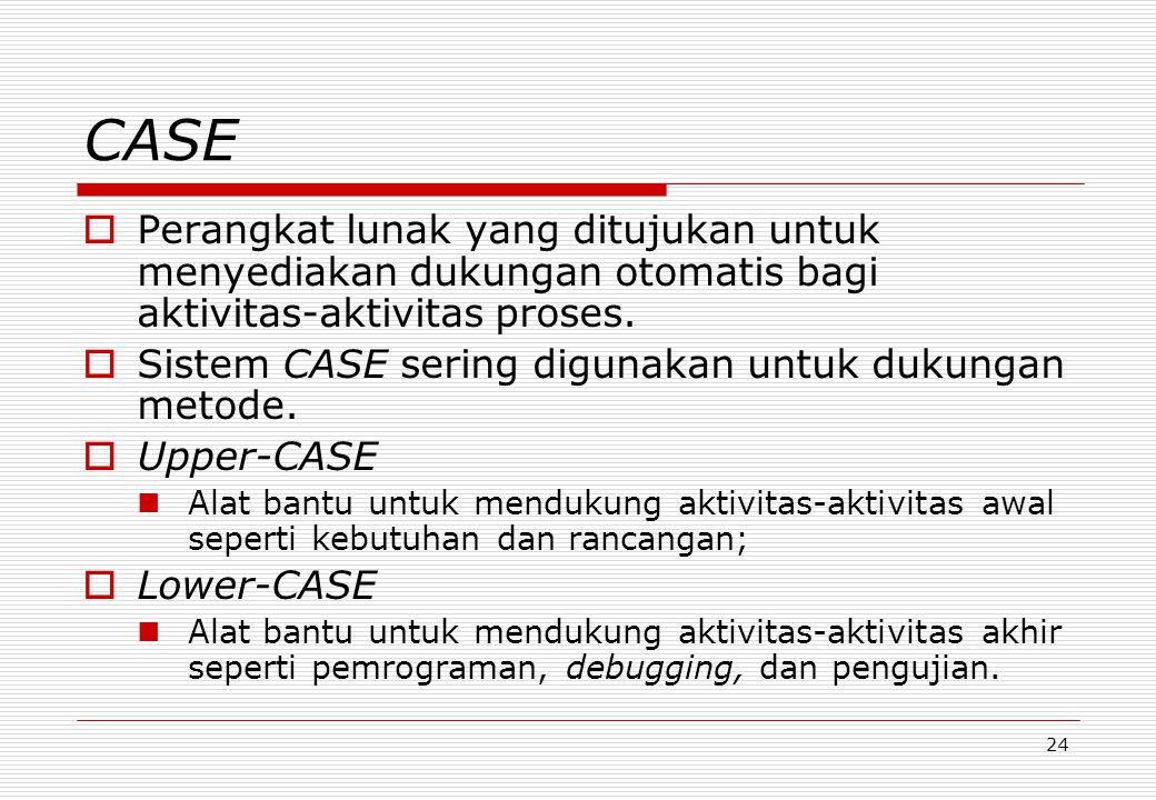 24 CASE  Perangkat lunak yang ditujukan untuk menyediakan dukungan otomatis bagi aktivitas-aktivitas proses.