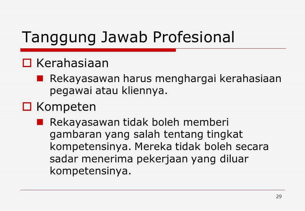 29 Tanggung Jawab Profesional  Kerahasiaan Rekayasawan harus menghargai kerahasiaan pegawai atau kliennya.