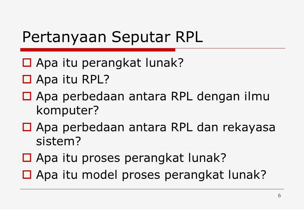 17 Model proses perangkat lunak  Model proses generik: Waterfall; Pengembangan iteratif; RPL berbasis komponen.