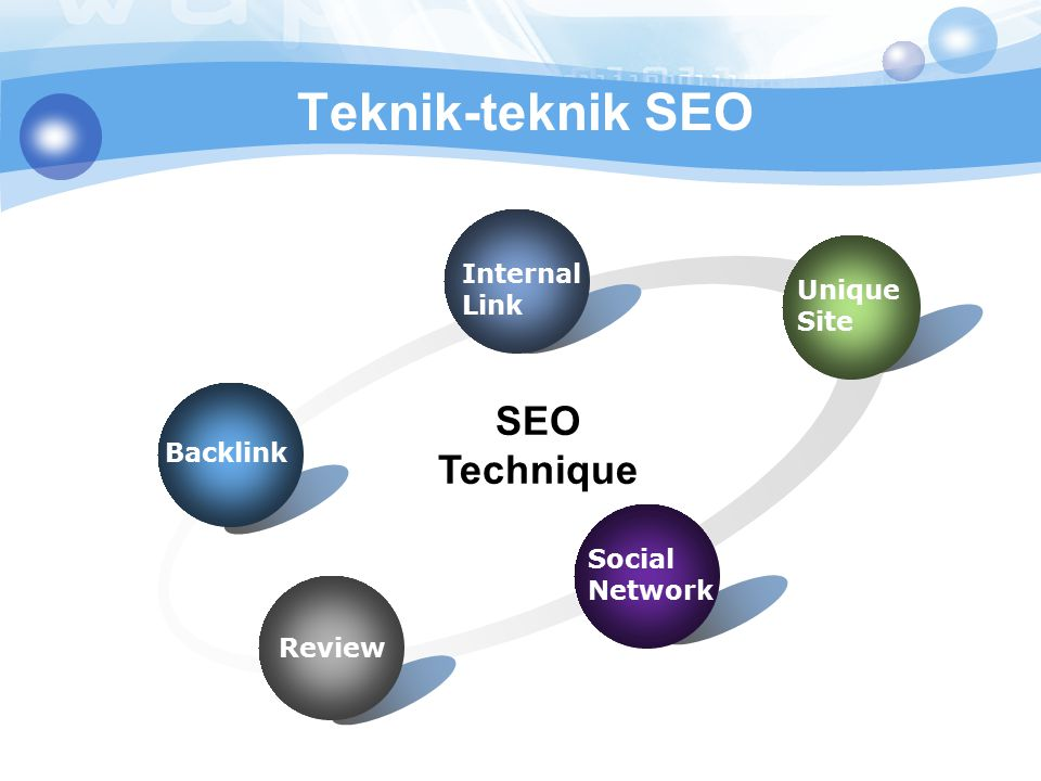 Teknik-teknik SEO Backlink Internal Link Unique Site Social Network Review SEO Technique