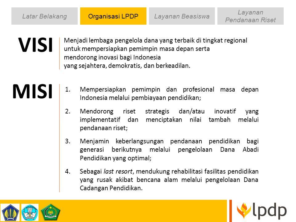 Latar BelakangOrganisasi LPDPLayanan Beasiswa Layanan Pendanaan Riset VISI Menjadi lembaga pengelola dana yang terbaik di tingkat regional untuk mempe