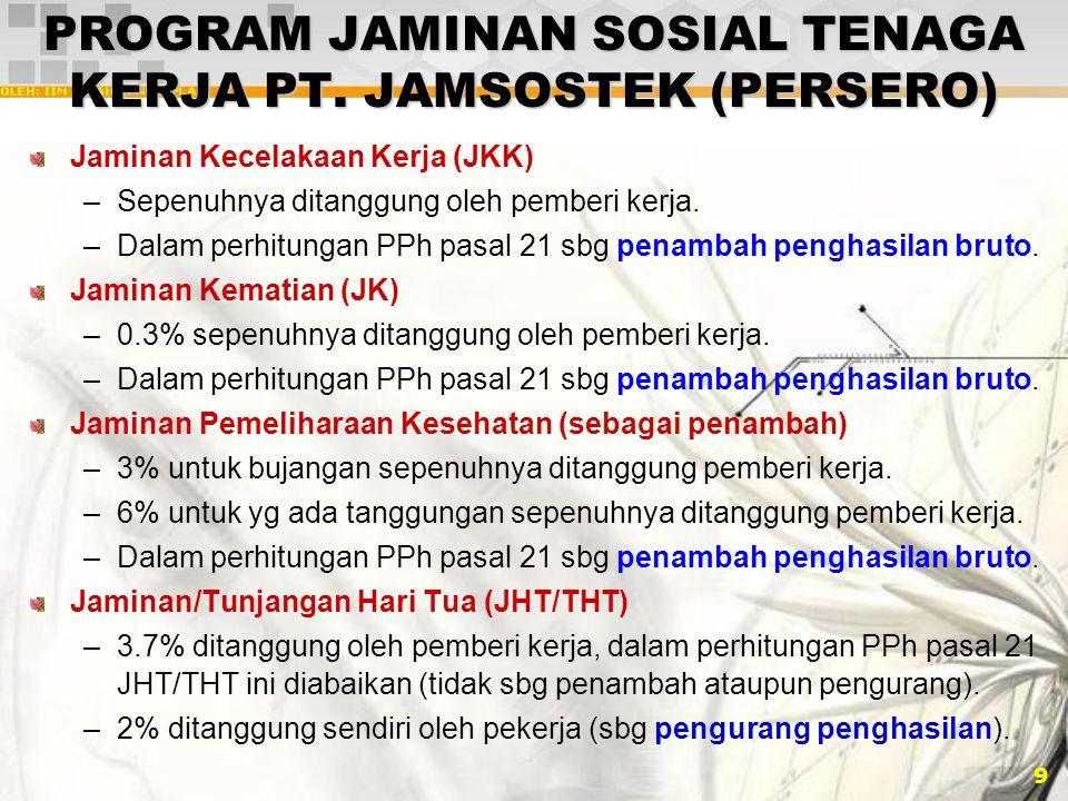 9 PROGRAM JAMINAN SOSIAL TENAGA KERJA PT. JAMSOSTEK (PERSERO) Jaminan Kecelakaan Kerja (JKK) –Sepenuhnya ditanggung oleh pemberi kerja. –Dalam perhitu