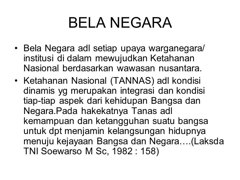 BELA NEGARA Upaya bela negara adl sikap dan prilaku warga negara yg dijiwai kecintaannya kepada NKRI yg berdasarkan Pancasila dan UUD 1945 dlm menjamin kelangsungan hidup bangsa dan negara.