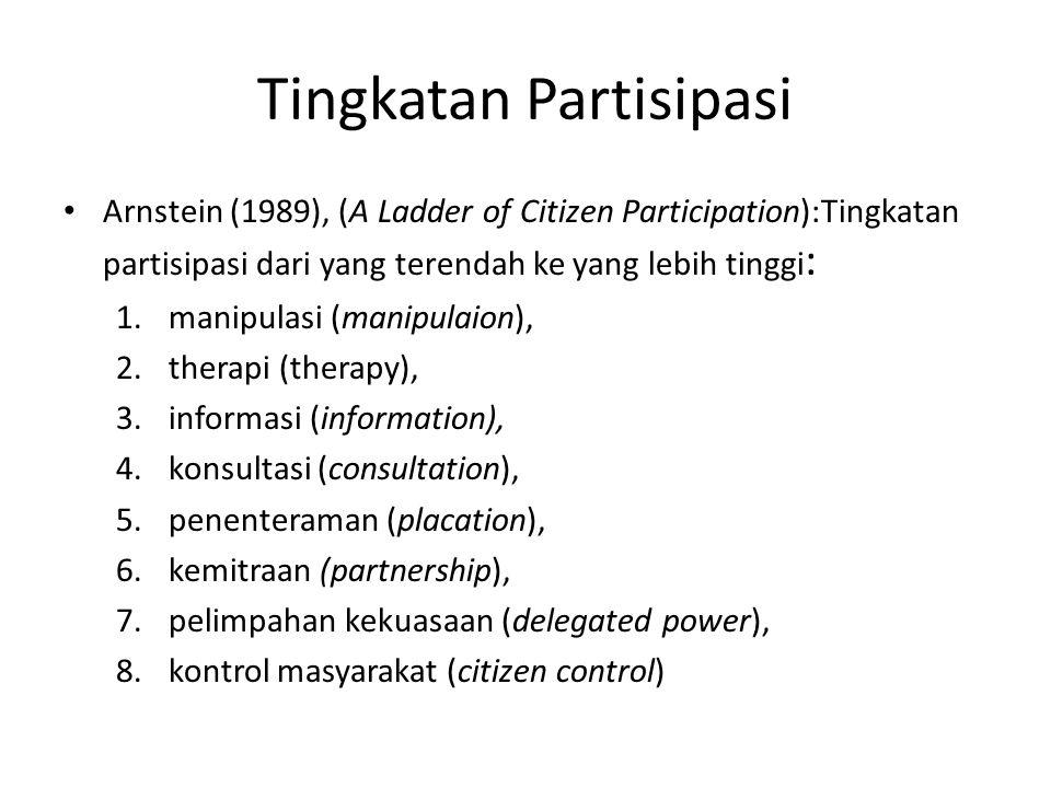 Tingkatan Partisipasi Arnstein (1989), (A Ladder of Citizen Participation):Tingkatan partisipasi dari yang terendah ke yang lebih tinggi : 1.manipulas