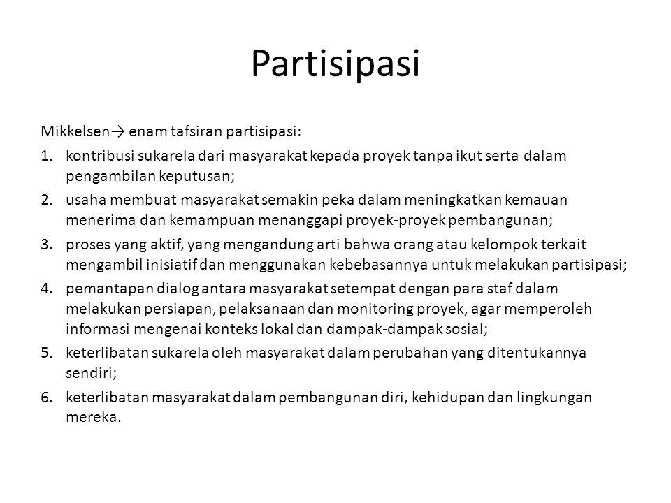 Partisipasi Mikkelsen→ enam tafsiran partisipasi: 1.kontribusi sukarela dari masyarakat kepada proyek tanpa ikut serta dalam pengambilan keputusan; 2.
