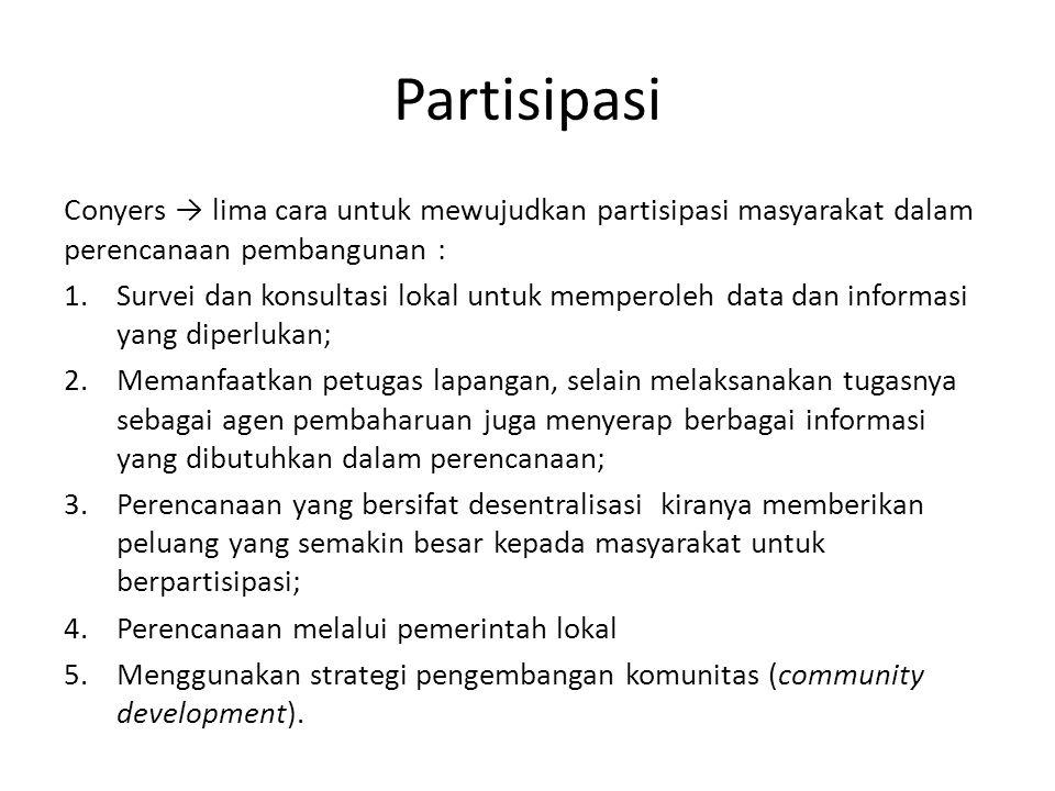 Partisipasi Conyers → lima cara untuk mewujudkan partisipasi masyarakat dalam perencanaan pembangunan : 1.Survei dan konsultasi lokal untuk memperoleh