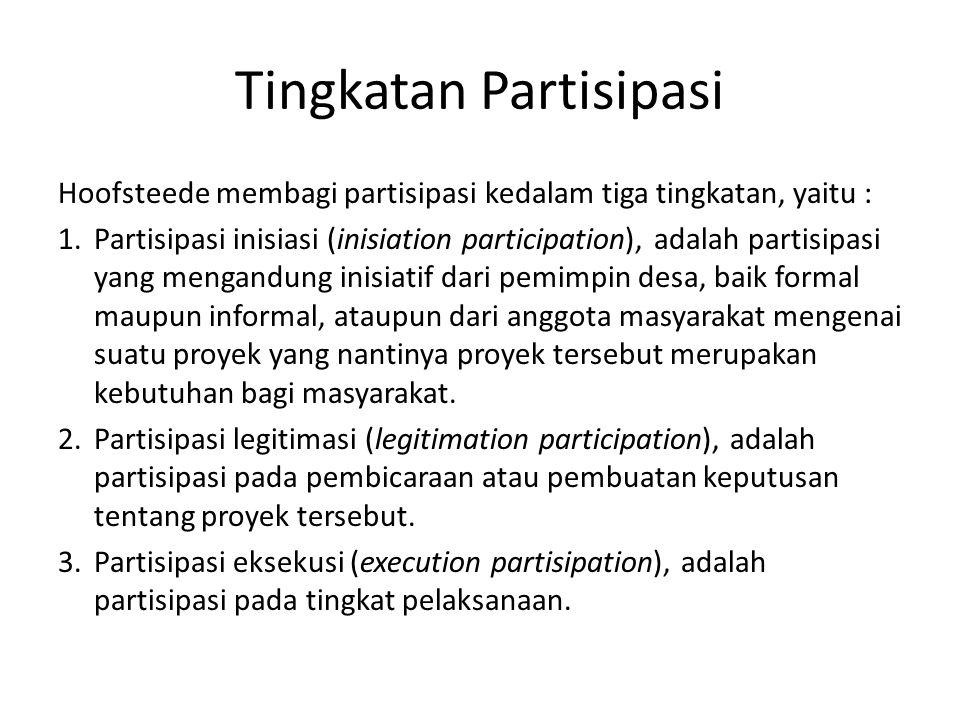 Tingkatan Partisipasi Hoofsteede membagi partisipasi kedalam tiga tingkatan, yaitu : 1.Partisipasi inisiasi (inisiation participation), adalah partisi