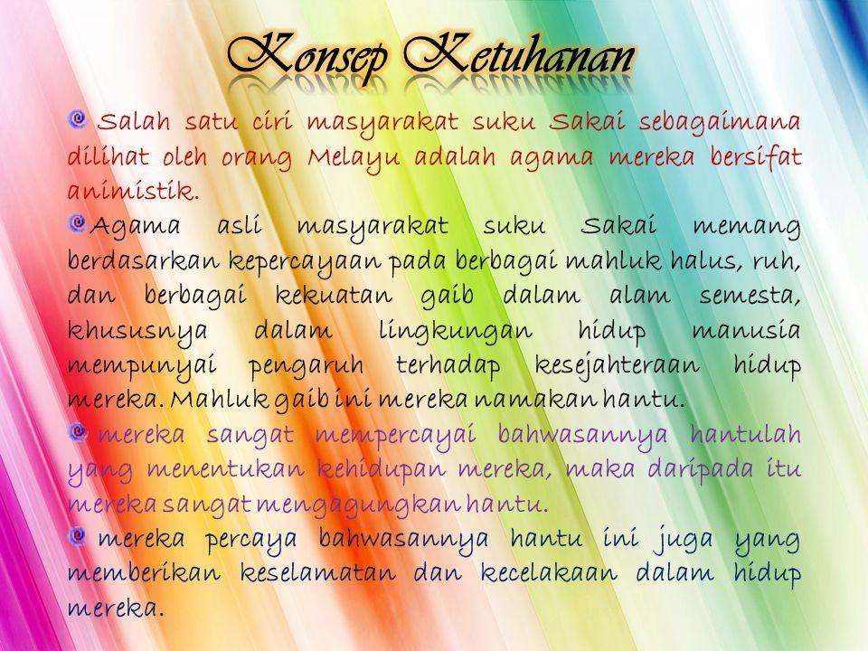 Salah satu ciri masyarakat suku Sakai sebagaimana dilihat oleh orang Melayu adalah agama mereka bersifat animistik. Agama asli masyarakat suku Sakai m