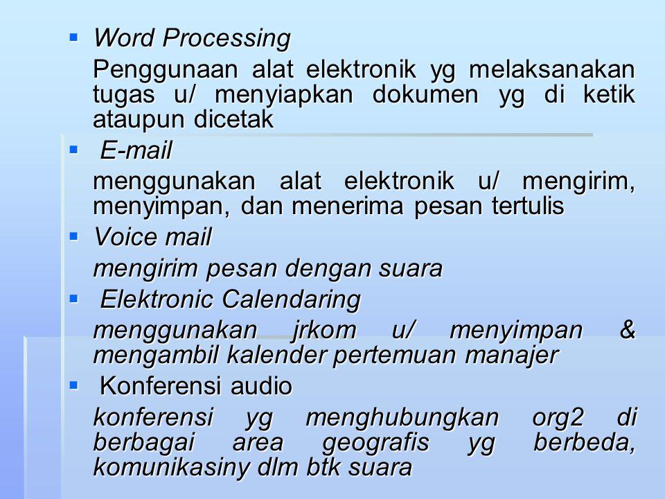  Word Processing Penggunaan alat elektronik yg melaksanakan tugas u/ menyiapkan dokumen yg di ketik ataupun dicetak  E-mail menggunakan alat elektro