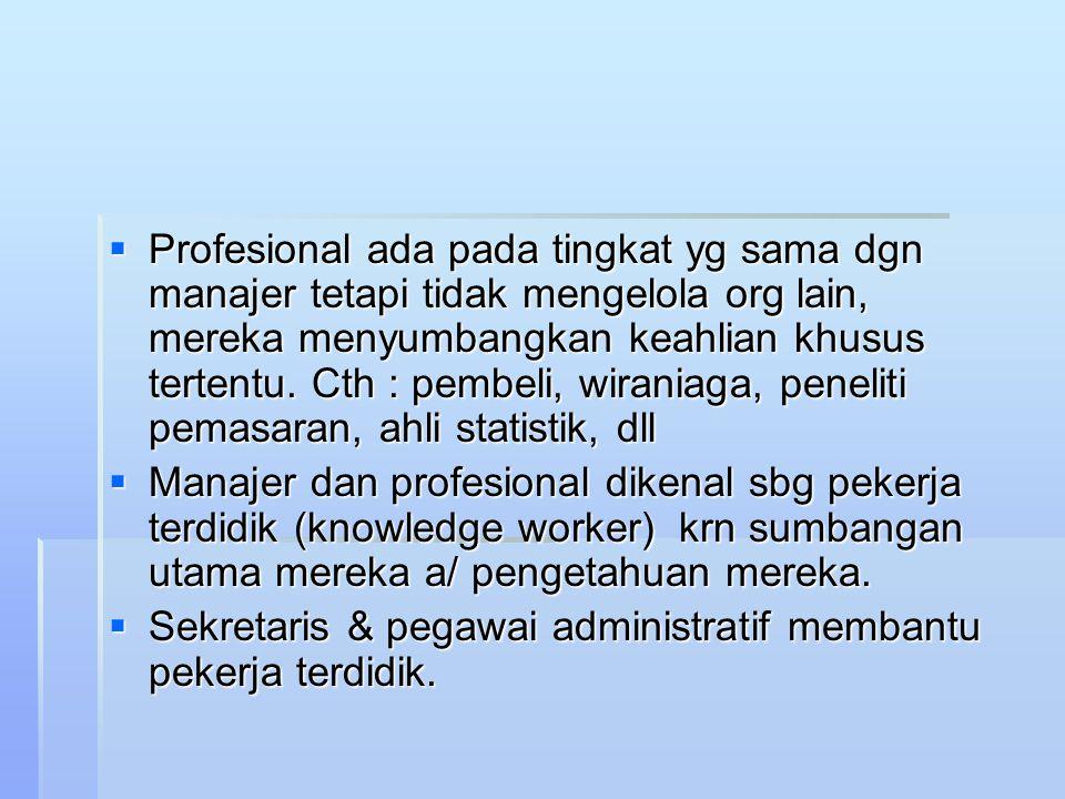  Profesional ada pada tingkat yg sama dgn manajer tetapi tidak mengelola org lain, mereka menyumbangkan keahlian khusus tertentu. Cth : pembeli, wira